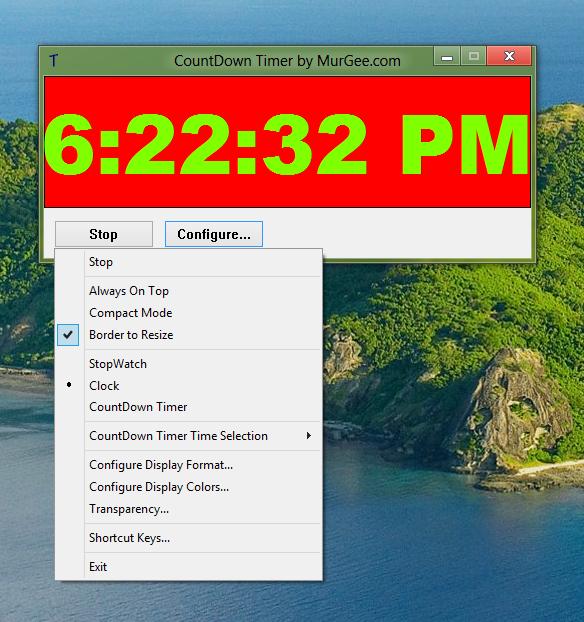 Configurable Clock Software for Windows 8