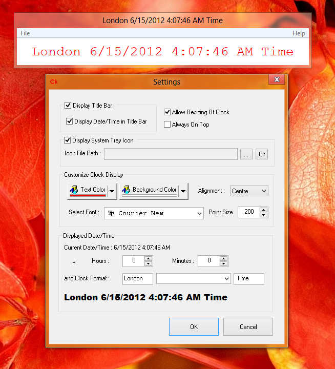 Configurable Desktop Clock for World Clock with Configurable Date / Time on Windows 8 Computer