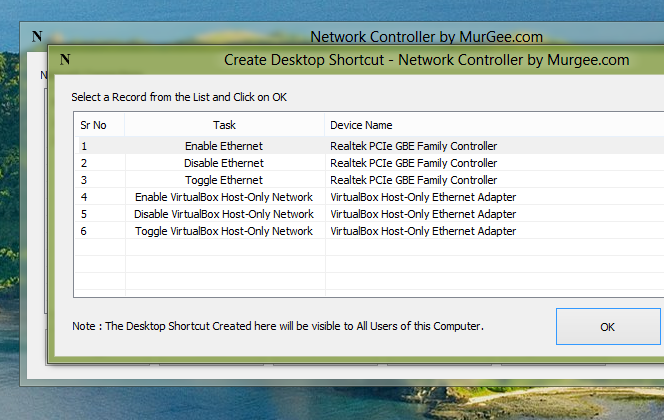 Screenshot of Network Controller Software to Create Desktop Shortcut to Control Indivual Network Connections on Windows 8