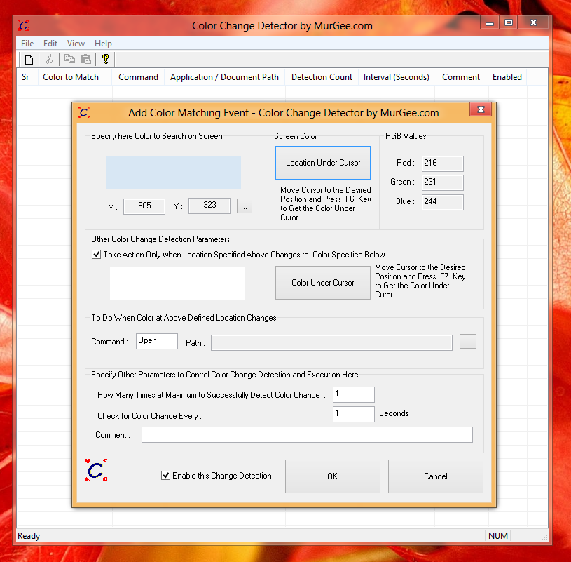 Detect Color Changes on Windows 8 Desktop or Metro Screen and Automate Mouse Clicks