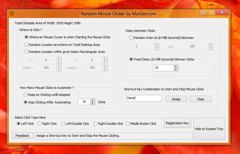 Screenshot of Software on Windows 8 to automate random mouse clicks on Desktop or Metro User Interface