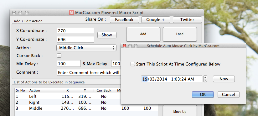 Click at specific time on Mac