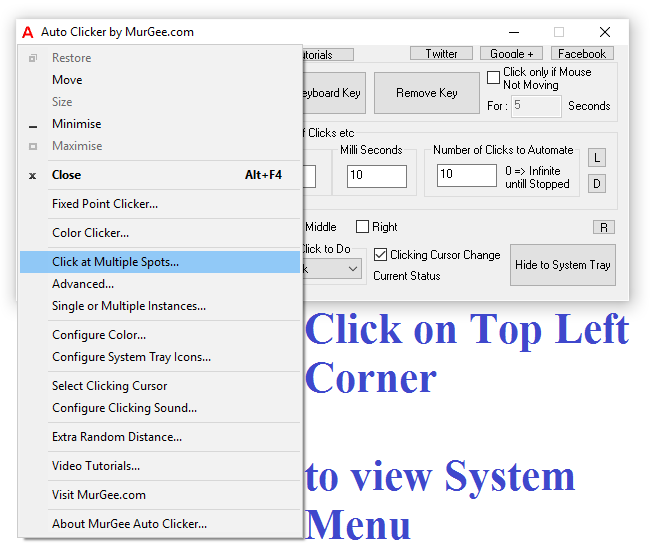 Auto Clicker System Menu