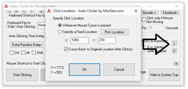 Choose Location of Automatic Clicking