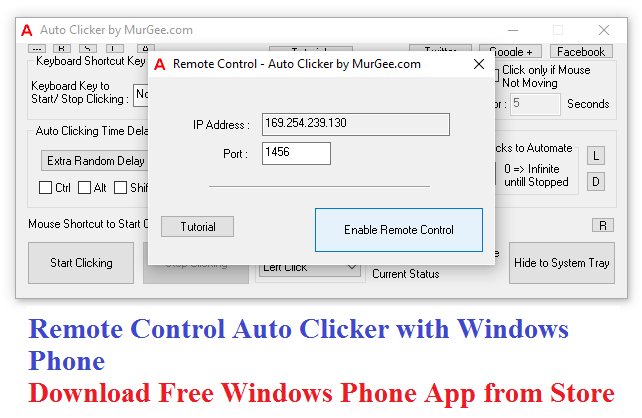 Remote Control Auto Clicker with Windows Phone App