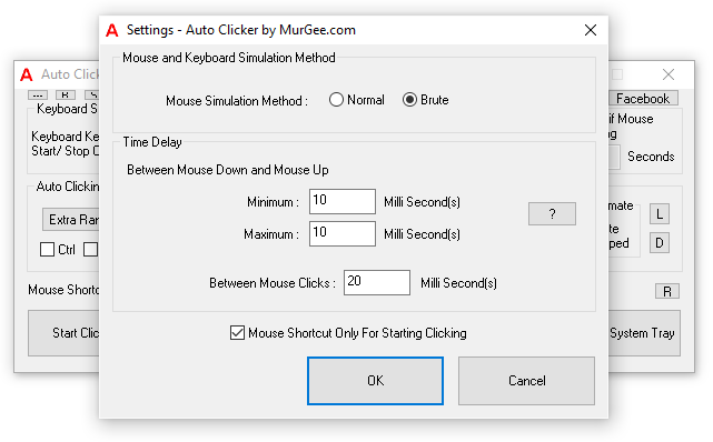 Settings of Auto Clicker