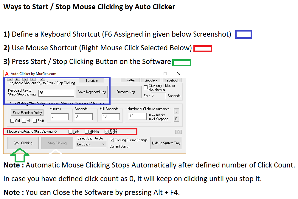 Start or Stop Automated Mouse Clicking