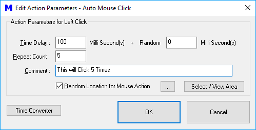 Control Random or Fixed Time Delay and Repeat Count of Macro Action