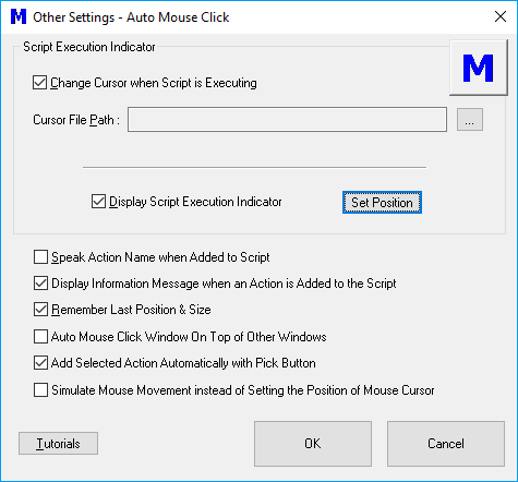 Settings to Control Mouse Clicking by Macro